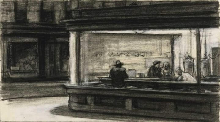 Nighthawks Sketch, 1942 by Edward Hopper